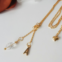 Personalised Crystal Teardop Gold Plated Pendant Necklace with Initial