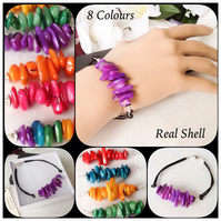 8 Fruity Colours Real Shell & Leather Bracelet with Magnetic Clasp