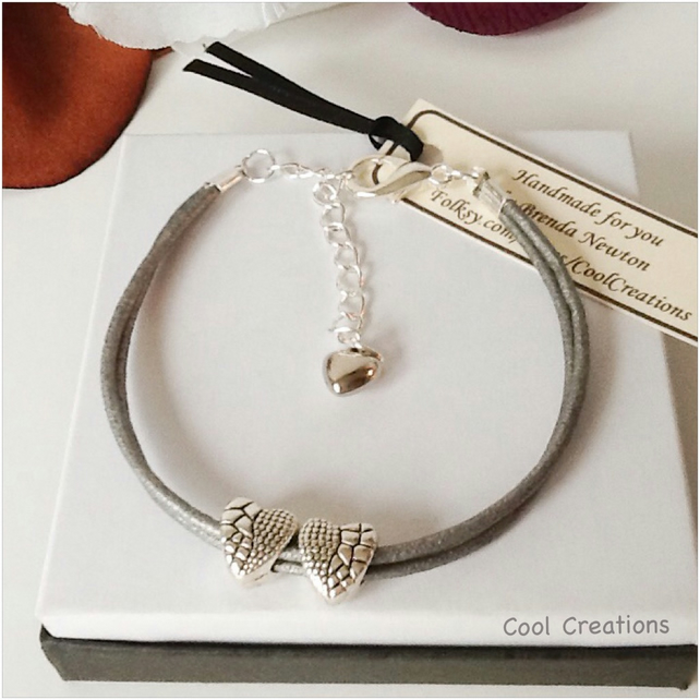 Twin Hearts Silver Leather Adjustable Bracelet by Cool Creations