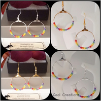 Go with Everything Rainbow Seed Bead Hoop Earrings in Gold or Silver Plate