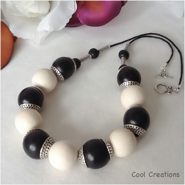 Black & White Long Chunky Wooden Bead Necklace
