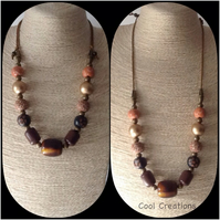 Brown Chunky Adjustable Wood & Clay Beaded Necklace by Cool Creations