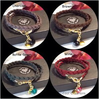Four Colours Faux Suede Wrap Over Bracelets with Crystal Dangle & Golden Heart