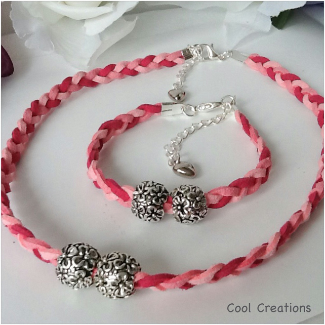 Boho Pink Braided Suede Choker Summer Necklace Set with Matching Bracelet
