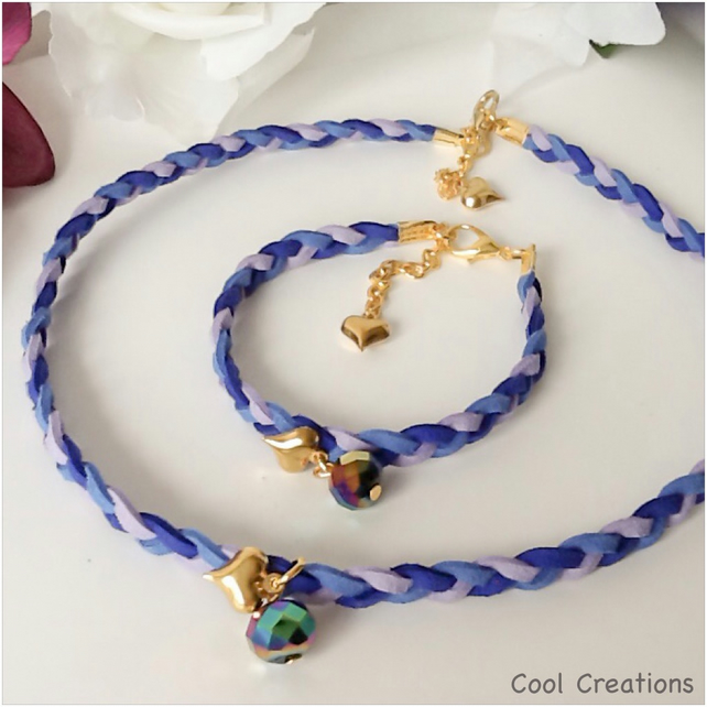 Blue & Purple Boho Chic Suede Braided Choker Necklace with Matching Bracelet