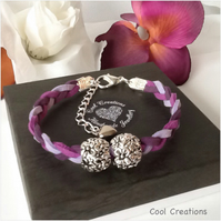Purple Boho Braided Suede Adjustable Bracelet with Tibetan Silver Beads