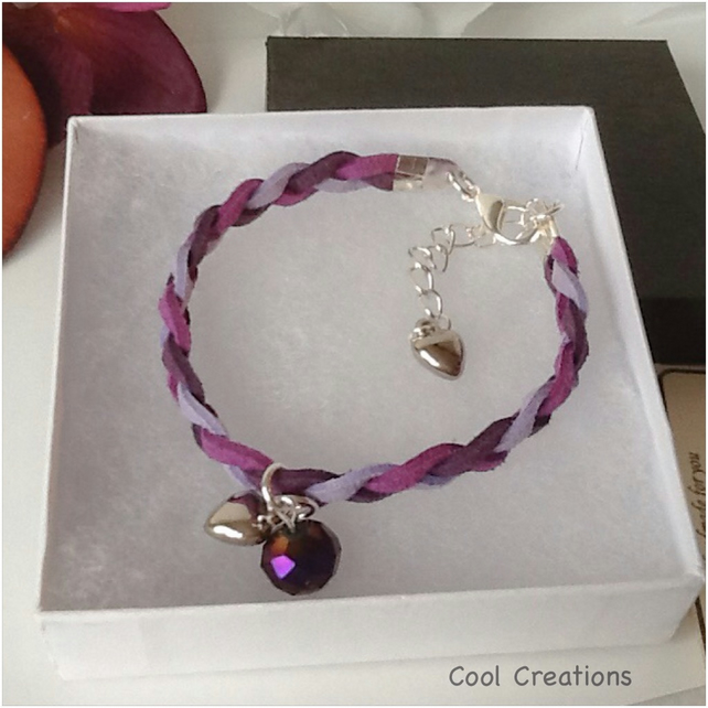 Purple Boho Braided Suede Adjustable Bracelet with Faceted Crystal Charm