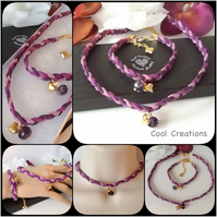 Purple Boho Chic Braided Suede Choker Necklace Set with Matching Bracelet