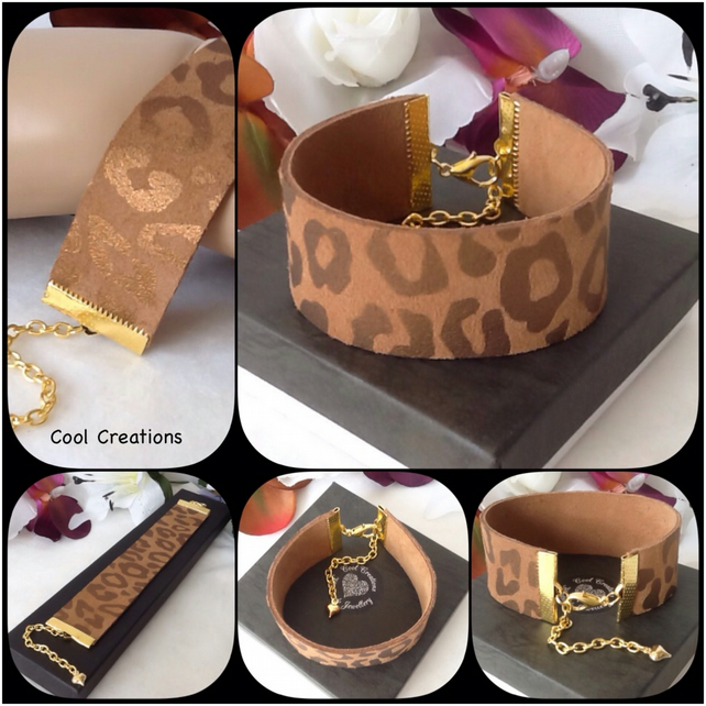Caramel Soft Calf Suede Leather Animal Print Adjustable Reversible Bracelet