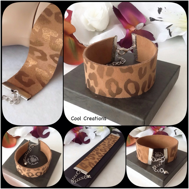 Soft Caramel Calf Suede Leather Adjustable Reversible Bracelet in Antique Silver