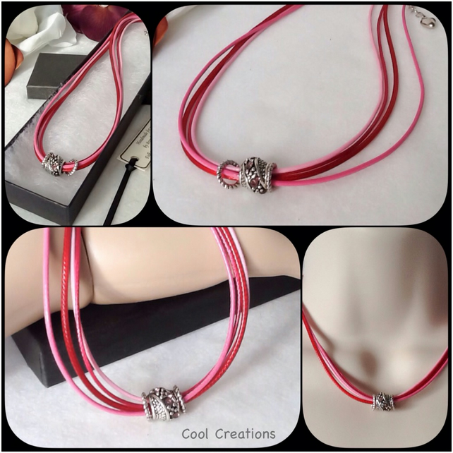 Summer Pink Faux Leather Corded Necklace with Tibetan Silver Beads