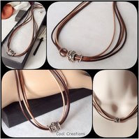 Brown & Caramel Summer Necklace in Faux Leather with Tibetan Silver Beads
