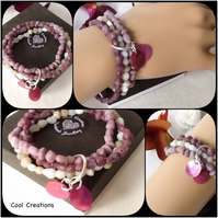 Summer Bracelet with Recycled Glass Beads in Shades of Pink Heather