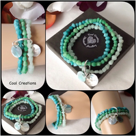 Summer Bracelet with Recycled Glass & Shell Beads in Ocean Shades of Turquoise