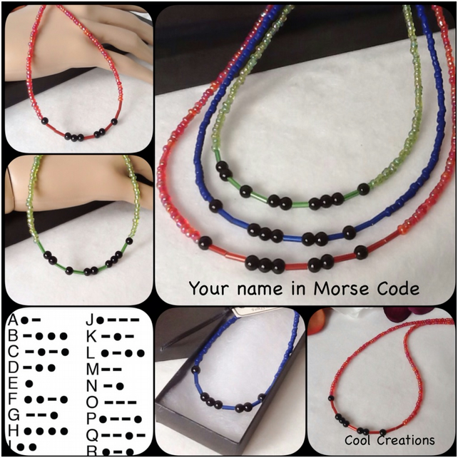 Personalised Morse Code Name Necklace in a Choice of Red, Green & Blue