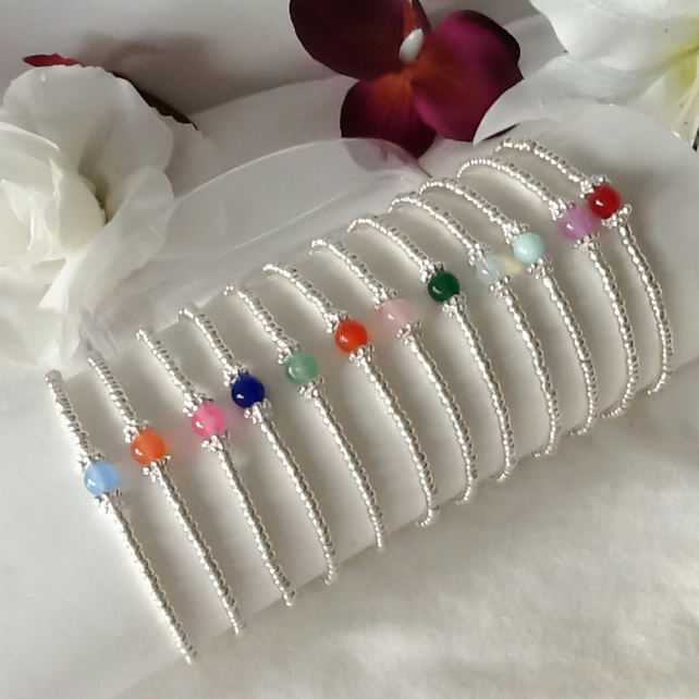 Malaysian Jade Birthstone Stretchy Bracelet Personalised in Twelve Colours