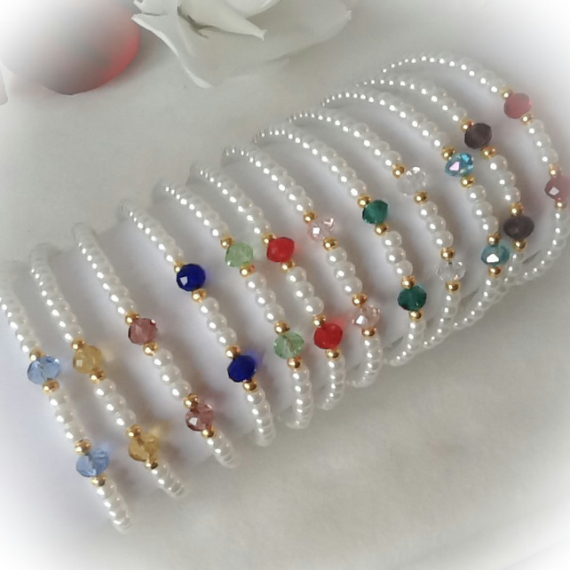 Pearl & Crystal Adjustable Birthstone Bracelet Gift Boxed Birthday Christmas
