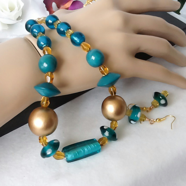 Teal & Amber Gold Chunky Necklace Jewellery Set with Matching Earrings