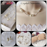 Bridal Pearl & Crystal Diamante Jewellery Set with Necklace, Bracelet & Earrings
