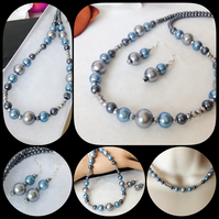 Steel Blue & Grey Pearl Necklace Set with Matching Earrings