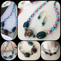 Teal & Vintage Pink Necklace Set with Earrings & Magnetic Clasp