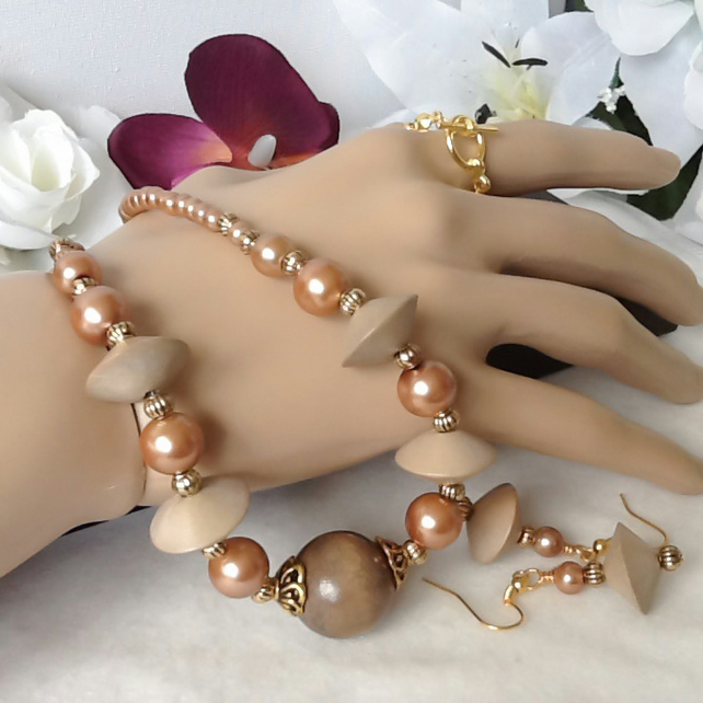 Coffee & Gold Pearl & Wood Necklace Set with Matching Earrings by Cool Creations