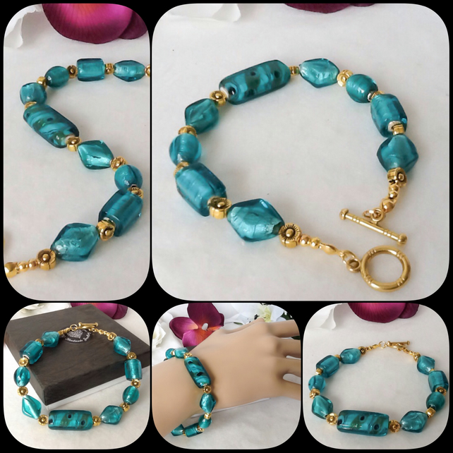 Chunky Turquoise & Gold Indian Glass Bracelet by Cool Creations