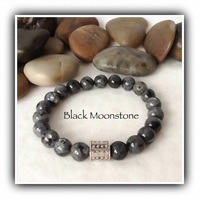 Men's Black Moonstone Gemstone Stretchy Chunky Bracelet in Grey & Black Gift