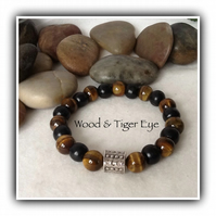 Men's Wood & Tiger Eye Gemstone Stretchy Bracelet in Brown Gift Boxed Christmas