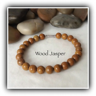 Men's Wood Jasper Gemstone Stretchy Bracelet in Light Brown Gift Christmas
