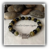 Men's Wood & Green Agate Gemstone Stretchy Bracelet Gift Boxed Christmas