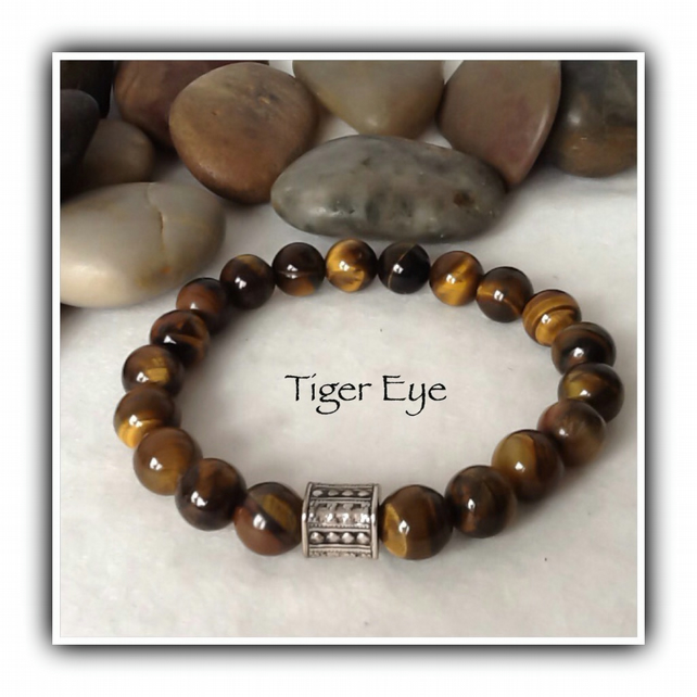 Men's Tiger Eye Gemstone Stretchy Bracelet in Brown Gift Boxed Christmas