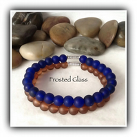Pair of Men's Frosted Glass Stretchy Stacking or Friendship Bracelets Brown Blue