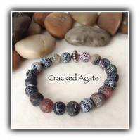 Men's Cracked Agate Gemstone Stretchy Bracelet Gift Boxed Christmas Boyfriend