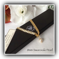 Swarovski Pearl Gold Plated Necklace Gift Boxed Magnetic Clasp Christmas Mum