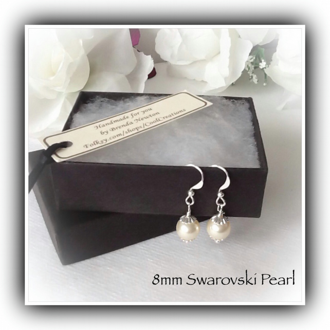 Swarovski Pearl Silver Plated Earrings Gift Boxed Christmas Birthday Mum Bridal