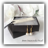 Swarovski Pearl Gold Plated Earrings Gift Boxed Christmas Wedding Girlfriend Mum