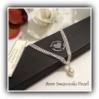 Swarovski Pearl Silver Plated Necklace with Magnetic Clasp Christmas Girlfriend
