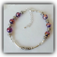 Beautiful Bali Style Purple & Silver Adjustable Bracelet Gift Boxed Christmas