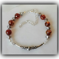 Beautiful Bali Style Red & Silver Adjustable Bracelet Gift Boxed Christmas Gift