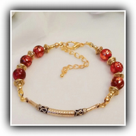 Beautiful Bali Style Red & Gold Adjustable Bracelet Gift Boxed Christmas Gift