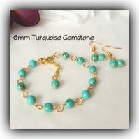 Gold Plated Turquoise Gemstone Adjustable Bracelet with Earrings Gift Boxed