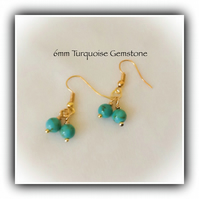 Gold Plated Turquoise Gemstone Earrings Gift Boxed Christmas Birthday Girlfriend