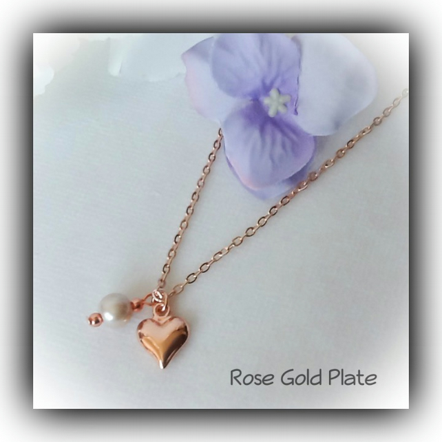Rose Gold Heart & Pearl Necklace Gift Boxed Christmas Girlfriend Daughter Gift