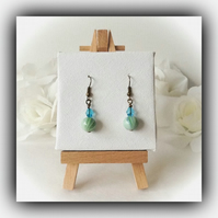 Turquoise & Green Glass Earrings Gift Boxed Christmas Birthday Girlfriend Gift