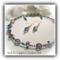 Teal & Copper Crystal Choker & Earrings Gift Wrapped Girlfriend Mum Gift