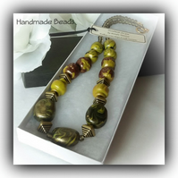 Olive Green Chunky Necklace with Handmade Beads Gift Boxed Christmas Gift