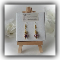 Purple & Gold Plated Earrings Gift Boxed by Cool Creations Christmas Mum Gift