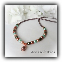 'Autumn Forest' Mixed Pearl Necklace in Rose Gold Plate Gift Boxed Gift