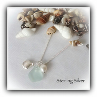 Real Freshwater Pearl, Sea Glass & Silver Shell Sterling Necklace Gift Boxed
